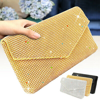 Women Handbag Lady Party Clutch Evening Bag Crystal Rhinestone Crossbody Purses