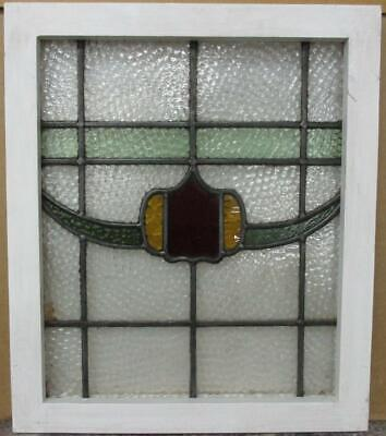 """OLD ENGLISH LEADED STAINED GLASS WINDOW Pretty Band & Swag Design 17.5"""" x 20.5"""""""