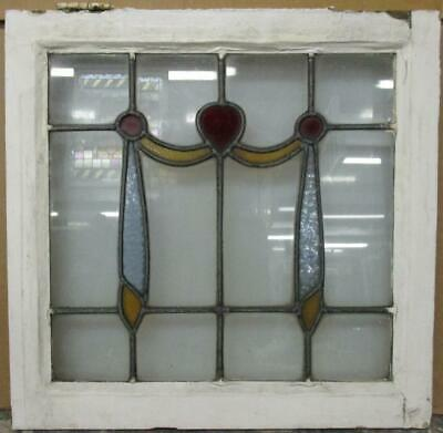 """OLD ENGLISH LEADED STAINED GLASS WINDOW Pretty Swag Design 20.75"""" x 20.25"""""""