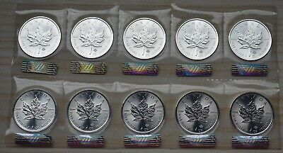 2018 Canada Maple Leaf five dollars silver coin 10 pieces UNC