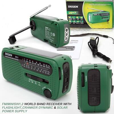 DE13 FM Radio FM MW SW Crank Dynamo Solar Emergency Radio World Receiver