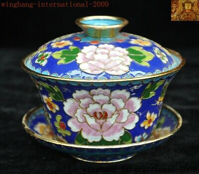 Old China Chinese palace dynasty bronze Cloisonne Gilt peony flower Tea cup Bowl