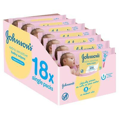 Johnsons Baby Cleansing Wet Extra Sensitive Fragrance Free Wipes 1008 Pack of 18