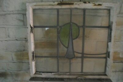Two 1930's Metal Framed Windows with Stained Glass and Leaded Lights