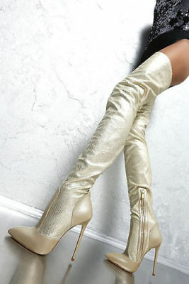 1969 crotch boots 13 cm Sexy viper gold fetish leather stretch high heels 43
