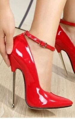 43 44 17cm Sexy high heels patent red strap pumps metal fetish high heels