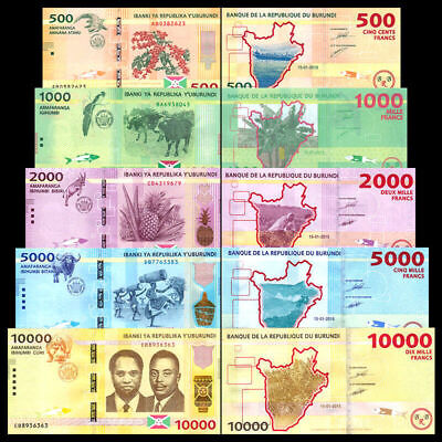 BURUNDI 10000 5000 2000 1000 500 Francs 2015 Full Set of 5 UNC Banknotes