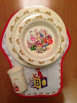 BUNNYKINS. Royal Doulton ABC Set Melamine / plastic. Set x8 Cup Bowl Plate