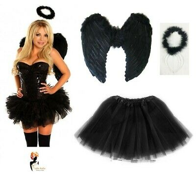 Dark Angel Fairy Feather Wings Halo Fancy Dress Costume Hen Party BLACK Outfit