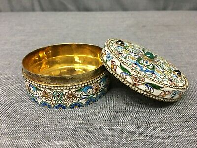 Russian Orthodox Church Gilded Silver & Cloisonne Round Box