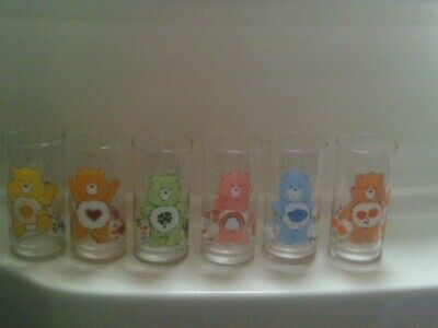 Vintage 1983 Pizza Hut Set (6) Care Bears Glasses Limited Edition Complete! Rare