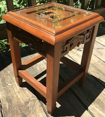 Vtg Carved Wood Plant Stand Table Glass Top Asian Design 13""