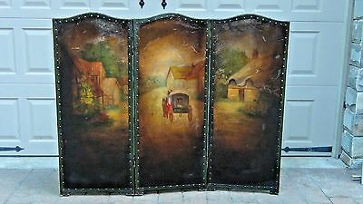 ANTIQUE 18 c. LOUIS XV FRENCH FIREPLASE SCREEN ROOM DEVIDER PAINTING ON LEATHER
