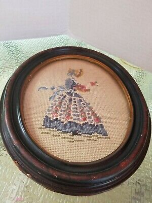 Vintage Needlepoint Woman in bonnet, flowers and bird, in Oval Wooden Frame