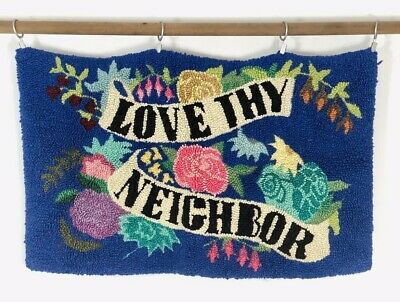 "Antique American Primitive Hooked Rug Cotton - 37"" x 22"" - Love Thy Neighbor"