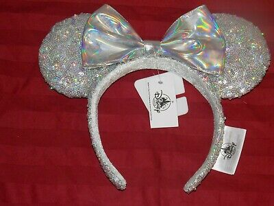 Disney Parks Magic Mirror Holographic Silver Iridescent Minnie Ear Headband New