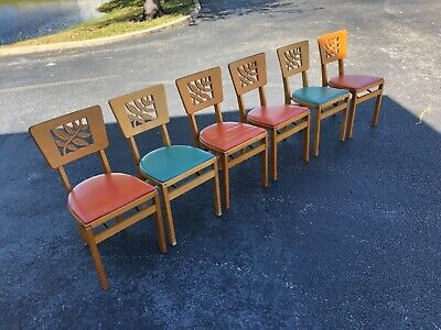 Vintage Mid-Century Modern Stakmore Hollywood Regency Folding Chair Set Of 6