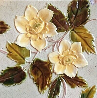 Antique  English Majolica Tile 1891   price reduced