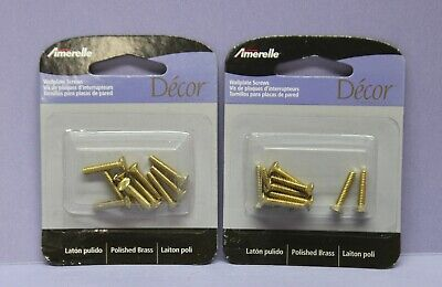 """Lot of 20 Amerelle Brass Switch Wall Plate Cover Screws - 6-32 3/4""""  - Oval Slot"""