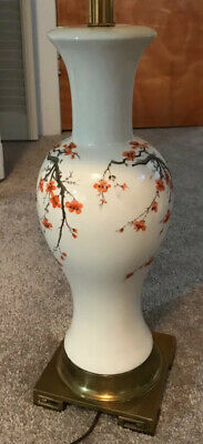 vintage asian table lamp with cherry blossom and butterflies