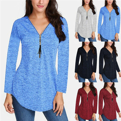 Plus Size Womens V Neck Long Sleeve T-Shirt Tops Fringe Zip Tunic Casual Blouse