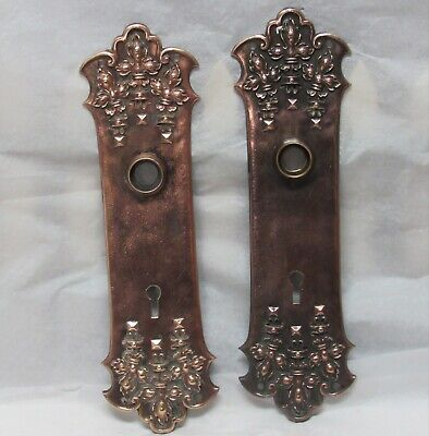 Antique Bronze Ornate Victorian Backplate With Skeleton Key Hole Escutcheon Pair