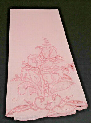 Madeira Pink Linen Guest Hand Towel Embroidery Organdy Cutwork Floral Leaf  FRES