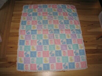 Baby Infant Nursery Comforter Quilt Blanket pastel abc animal block square lace