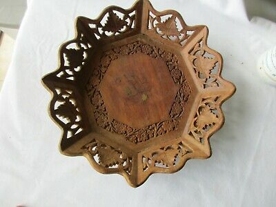 """Vintage Hand Carved Wooden Fruit Bowl, Flowers & Leaves, Inlaid brass, 11"""" wide"""