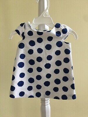 Janie & Jack Baby Girl Summer Cotton Purple Polka Dot Dress Sz 3-6 Mths EUC