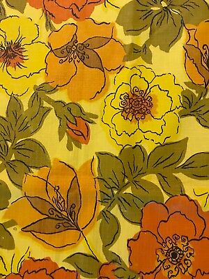 Vintage Oval Flannel Backed Vinyl Tablecloth Retro Yellow Orange Flowers 64x50