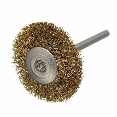 10x Round Brass Wire Brushes Wheel With Shaft Removing Rust For Rotary Tool New