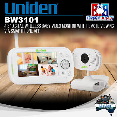 """Uniden BW3101 4.3"""" Digital Wireless Baby Video Monitor with Remote Smartphone"""