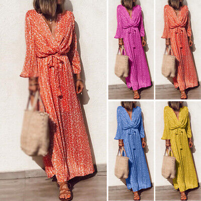 Womens Floral Long Sleeve Long Maxi Dress Summer Beach Boho Casual Loose Kaftan