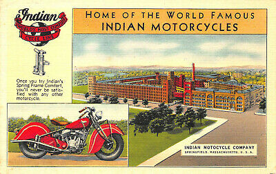 """Springfield MA Home of """"The World Famous Indian Motorcycles"""" Factory Postcard"""