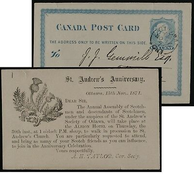 Canada postal stationery P1 1871 early illustrated back, Ottawa  ex- Steinhart