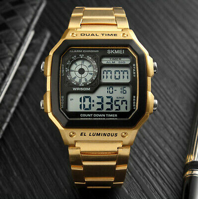 Men's Stainless Steel Digital Countdown Timer Dual Time LED Square Sport Watch