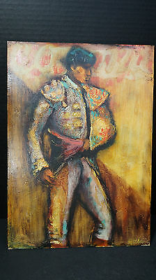 MATADOR ORIGINAL OIL board painting framed Bullfighter Bull Fighter