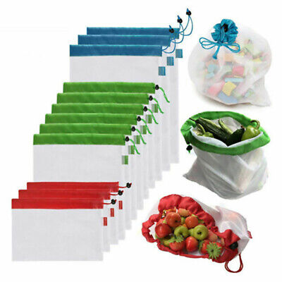 15pcs Reusable Mesh Produce Bags Fruit Vegetable Storage Shopping Eco Friendly w