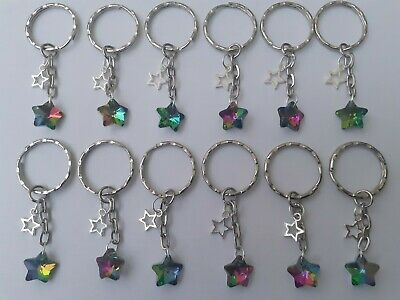 Wholesale Joblot 12 Glass Star Keyrings, Gifts,Party Bags Fillers, Favours