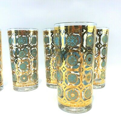 5 Vintage Mid Century 24 Kt Gold Trim High Ball Weighted Bottom Drinking Glasses