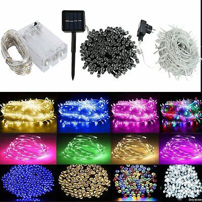 Battery/Plug in/Solar String Fairy Lights Christmas Outdoor Party Xmas Decor UK