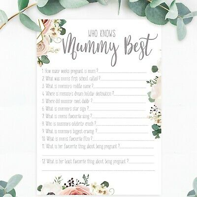 Baby Shower Games Who Knows Mummy Best Floral Boho Afternoon Tea Baby Shower