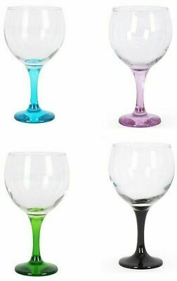 4x Gin and tonic cocktail wine balloon glasses 650ml COLOURS foot