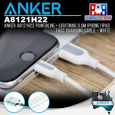 Anker A8121H22 PowerLine+ Lightning 0.9m iPhone/iPad Fast Charging Cable - White