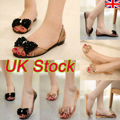 2019 Womens Ladies Flat Glitter Bowknot Sandals Summer Holdiay Jelly Shoes Sizes
