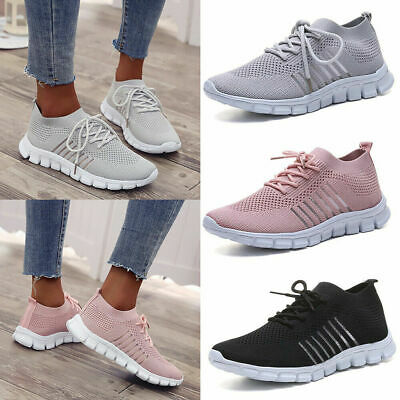 Womens Breathable Lace Up Mesh Trainers Ladies Running Sneakers Sport Gym Shoes