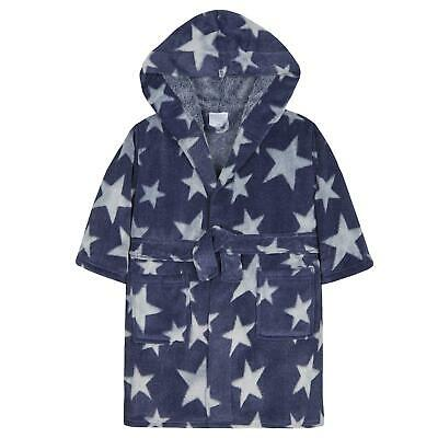 Infants / Boys / Childrens Dark Blue Star Print Dressing Gown ~ 2-6 Years