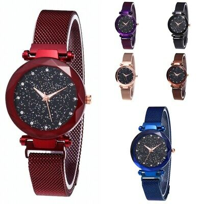 Women Sky Starry Wrist Watch Diamond Magnet Starry Stainless Steel Strap Band US