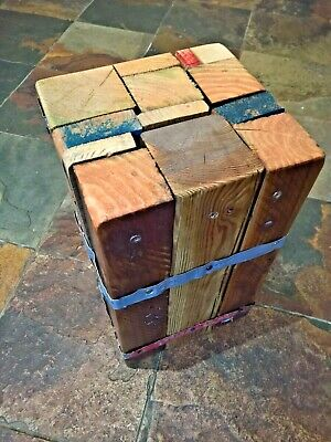 Upcycled Wood Stool Bedside Table Chunky Heavy Pallet 40cm Reclaimed Industrial